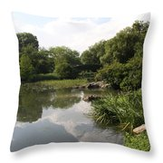 Pond Reflection - Central Park Throw Pillow