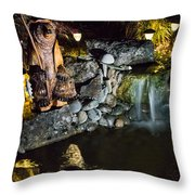 Pond Waterfall And Chuck The Bear Throw Pillow