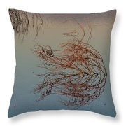 Pond Weed Reflections Throw Pillow