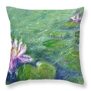 Green Pond With Water Lily Throw Pillow