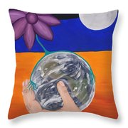 Pondering Creation Hand And Globe Throw Pillow