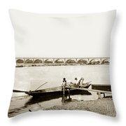 pont George V Bridge over Loire river Orleans Loire Valley France 1900 Throw Pillow