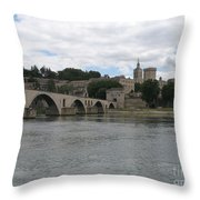 Pont Saint Benezet And Pope Palace Throw Pillow