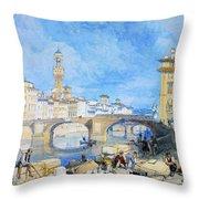 Ponte Santa Trinitia Florence Throw Pillow