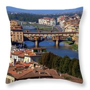 Ponte Vecchio And Arno River Throw Pillow