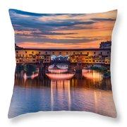 Ponte Vecchio At Sunset Throw Pillow
