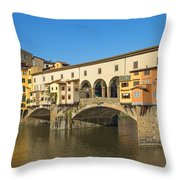 Ponte Vecchio Bridge In Florence Throw Pillow