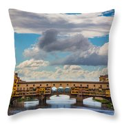 Ponte Vecchio Clouds Throw Pillow by Inge Johnsson
