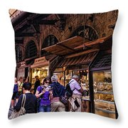 Ponte Vecchio Merchants - Florence Throw Pillow