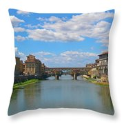 Ponte Vecchio Over The Arno River At Florence Italy Throw Pillow