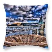 Pontsticill Reservoir Merthyr Tydfil Throw Pillow by Steve Purnell