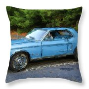 Pony Blue Throw Pillow