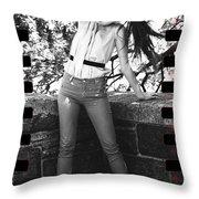 Pony Tail Lady Throw Pillow