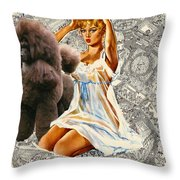 Poodle Art - Una Parisienne Movie Poster Throw Pillow