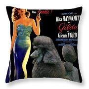 Poodle Standard Art - Gilda Movie Poster Throw Pillow