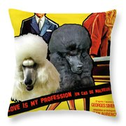 Poodle Standard Art - Love Is My Profession Movie Poster Throw Pillow