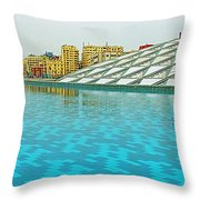 Pool And Roof Of Alexandria Library-egypt  Throw Pillow