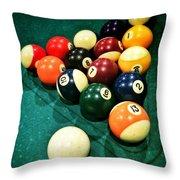 Pool Balls Throw Pillow by Carlos Caetano