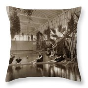 Pool In The Del Monte Bath House Monterey Circa 1885 Throw Pillow