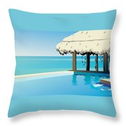 Pool On The Ocean Throw Pillow