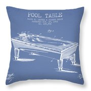 Pool Table Patent From 1901 - Light Blue Throw Pillow