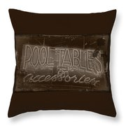 Pool Tables And Accessories - Vintage Neon Sign Throw Pillow