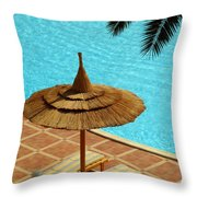 Poolside Relaxation Throw Pillow
