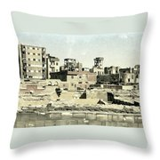 Poor Suburb Of The City Oil Painting On Burlap Throw Pillow
