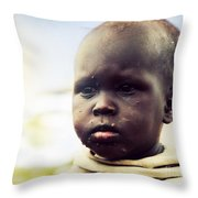 Poor Young Child Portrait. Tanzania Throw Pillow