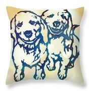 Pop Art Etching Poster - Dog - 10 Throw Pillow