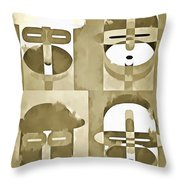 Pop Art People Monochromatic Four Throw Pillow