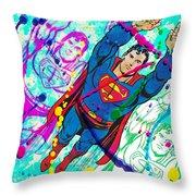 Pop Art Superman Throw Pillow