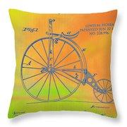 Pop Art Velocipede Patent Throw Pillow