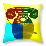 Pop Art Vintage Telephone 1 Throw Pillow