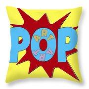 Pop Art Words Splat 02 Throw Pillow