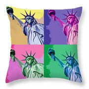 Pop Liberty Throw Pillow by Delphimages Photo Creations