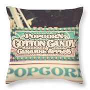 Popcorn Stand Carnival Photograph From The Summer Fair Throw Pillow