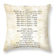 Pope Francis St. Francis Simple Prayer Butterfly Garden Throw Pillow