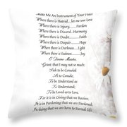 Pope Francis St. Francis Simple Prayer Daisies Throw Pillow by Desiderata Gallery