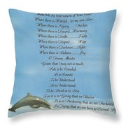 Pope Francis St. Francis Simple Prayer Dolphins Tking A Leap Of Faith Throw Pillow by Desiderata Gallery