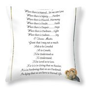 Pope Francis St. Francis Simple Prayer Mary Throw Pillow by Desiderata Gallery