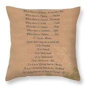 Pope Francis St. Francis Simple Prayer Organic Peace Leaves Throw Pillow by Desiderata Gallery