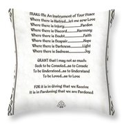 Pope Francis St. Francis Simple Prayer Parched Leaf Throw Pillow by Desiderata Gallery