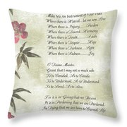 Pope Francis St. Francis Simple Prayerbutterfly On Bamboo Throw Pillow by Desiderata Gallery