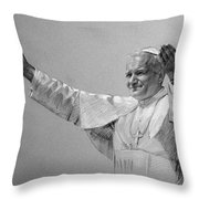 Pope John Paul II Bw Throw Pillow by Ylli Haruni