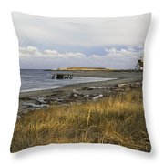 Popham Beach On The Maine Coast Throw Pillow