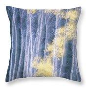 Poplar Trees In Autumn, Grey Creek Throw Pillow