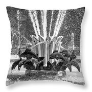 Popp Fountain In City Park Bw Throw Pillow