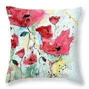 Poppies 05 Throw Pillow by Ismeta Gruenwald