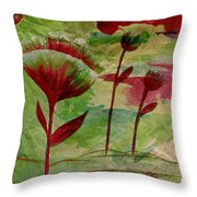 Poppies Abstract 3 Throw Pillow